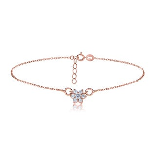 ICZ Stonez 18k Rose Gold over Silver Cubic Zirconia Flower Anklet