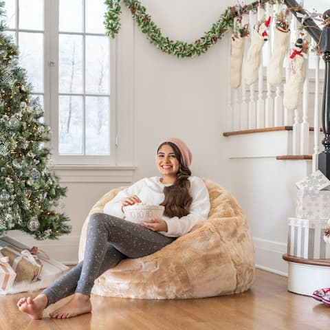 Marilyn Faux Fur 2.75 ft. Lounge Beanbag Chair by Christopher Knight Home