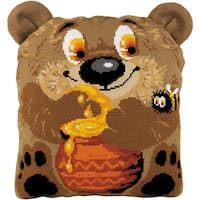 """Teddy Bear Cushion Counted Cross Stitch Kit-11.75""""X13.75"""" 10 Count"""