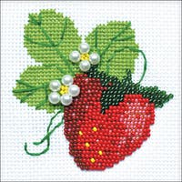 """Garden Strawberry Counted Cross Stitch Kit-4""""X4"""" 14 Count"""
