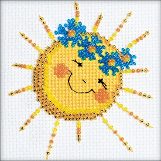 """Good Morning Counted Cross Stitch Kit-4""""X4"""" 14 Count"""