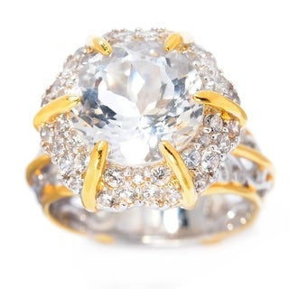 Michael Valitutti Palladium Silver White Quartz & White Zircon Halo Ring