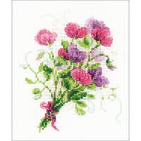 "Bouquet With Sweet Peas Counted Cross Stitch Kit-6""X7"" 14 Count"