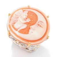 Michael Valitutti Palladium Silver Carved Shell Moon & Fairy Cameo & Orange Sapphire Ring