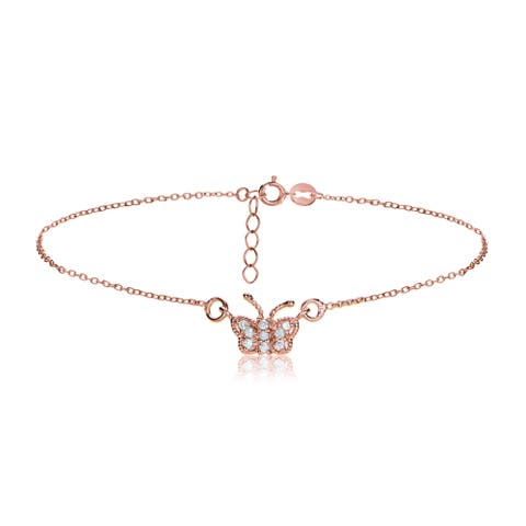 Icz Stonez 18k Rose Gold over Silver Cubic Zirconia Butterfly Chain Anklet