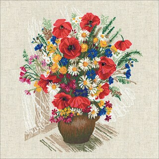 "Summer Flowers & Poppies Counted Cross Stitch Kit-17.75""X17.75"" 15 Count"