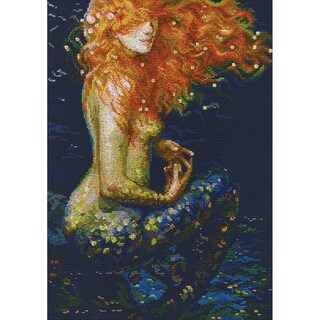 """Red Mermaid Counted Cross Stitch Kit-10""""X14.25"""" 14 Count"""