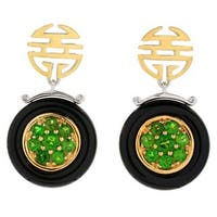 Michael Valitutti Palladium Silver Asia Black Onyx & Chrome Diopside Drop Earrings