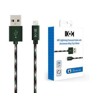 IKON MFI Lightning Paracord Cable with Aluminum Alloy Tip 2 Meter Camouflage 1 Pack