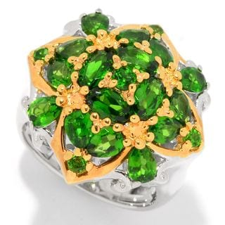 Michael Valitutti Palladium Silver Chrome Diopside Quatrefoil Cluster Dome Ring