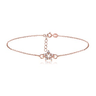 Icz Stonez 18k Rose Gold over Silver Cubic Zirconia Star Chain Anklet