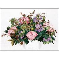 "Peonies On Aida Counted Cross Stitch Kit-11.75""X15.75"" 16 Count"