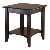 Nolan Cappucino Wood/Metal End Table