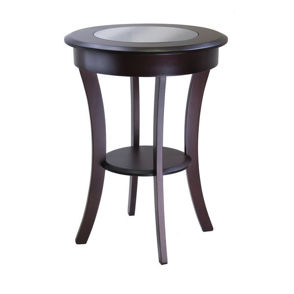 Cassie Round Cappuccino Finish Wood Accent Table with Glass Top