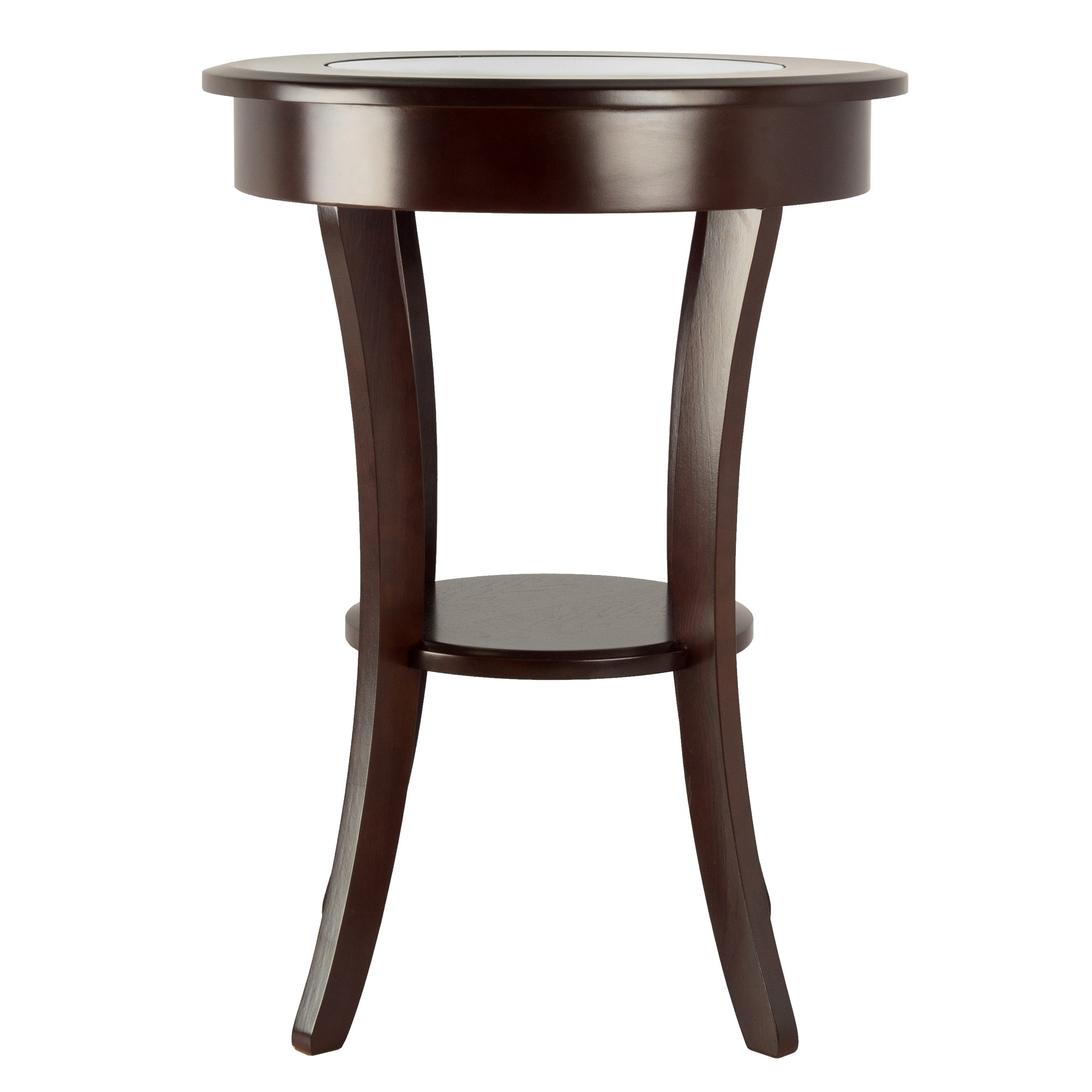 - Shop Cassie Round Cappuccino Finish Wood Accent Table With Glass