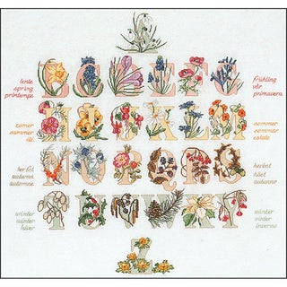 """Floral Alphabet On Aida Counted Cross Stitch Kit-23.5""""X22.5"""" 16 Count"""