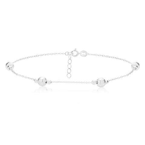 Mondevio Sterling Silver Textured and Polished Round Beads Chain Anklet