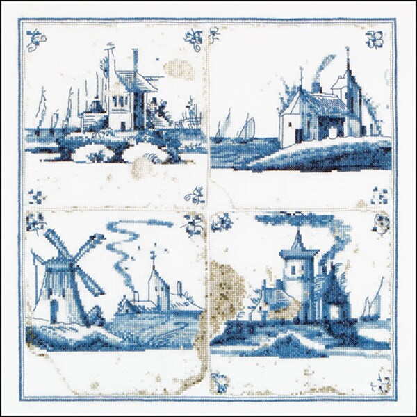 "Antique Tiles Villages On Aida Counted Cross Stitch Kit-11""X11"" 18 Count -  Thea Gouverneur, TG484A"