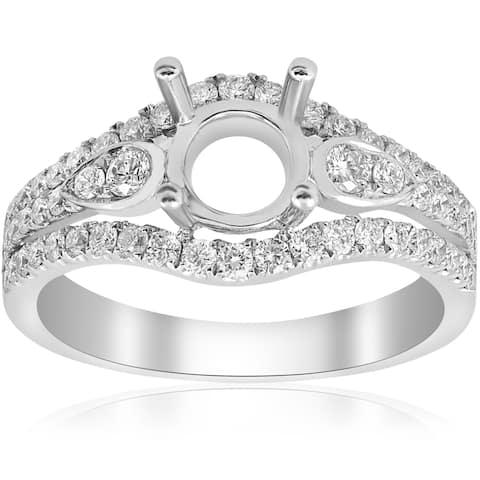 18K White Gold .64 ct TW Diamond Multi Row Vintage Engagement Ring Setting Semi Mount (F-G,VS1-VS2)