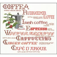 """Coffee Sampler On Aida Counted Cross Stitch Kit-15.25""""X14.5"""" 18 Count"""