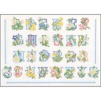 """Floral Alphabet On Aida Counted Cross Stitch Kit-12.5""""X16.5"""" 18 Count"""