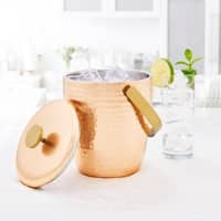 Aura Hammered Copper Double Walled Ice Bucket, 3.5 Qt.