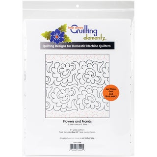 Quilting Creations Printed Tear Away Quilting Paper 4/Pkg-Flowers And Fronds 5""