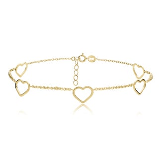 Mondevio Sterling Silver Open Hearts Chain Anklet (Option: Gold Plate - Yellow)
