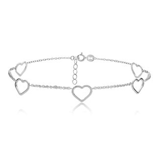 Mondevio Sterling Silver Open Hearts Chain Anklet
