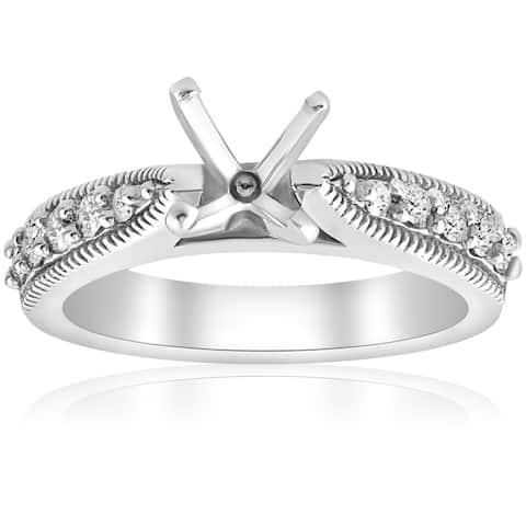 14k White Gold 3/8 ct TDW Diamond Semi Mount Vintage Engagement Ring Setting (I-J, I2-I3)