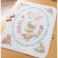"Sweet Baby Crib Cover Stamped Cross Stitch Kit-34""X43"""