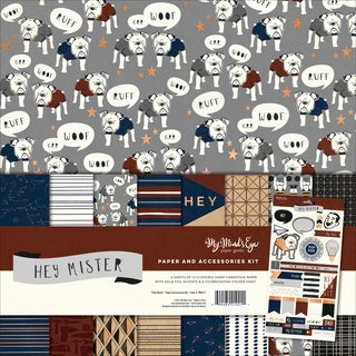 "My Mind's Eye Paper & Accessories Kit 12""X12""-Hey Mister W/Copper Foil"