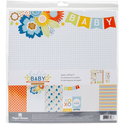 """Paper House Paper Crafting Kit 12""""X12""""-Hello Baby Boy"""