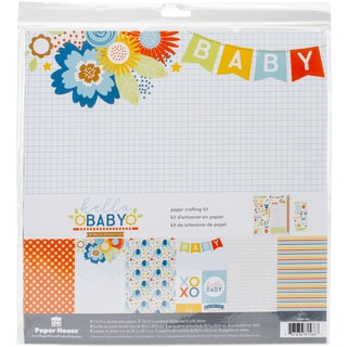 "Paper House Paper Crafting Kit 12""X12""-Hello Baby Boy"