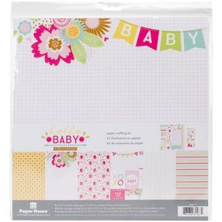 "Paper House Paper Crafting Kit 12""X12""-Hello Baby Girl"