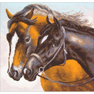Collection D'Art Stamped Cross Stitch Kit 41X41cm-Horses