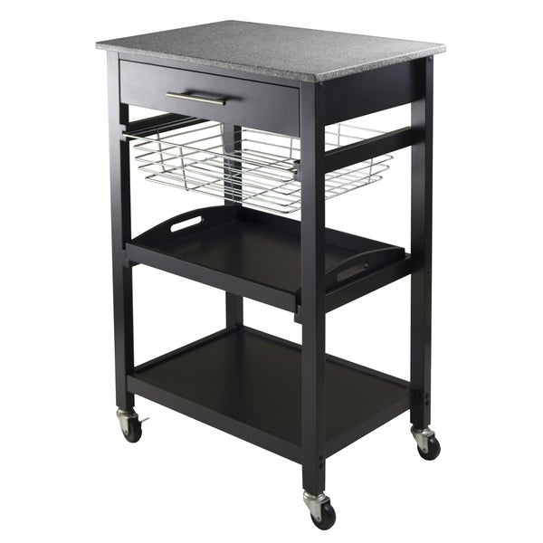 Julia Black Granite Counter-top Utility Cart