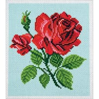 Collection D'Art Stamped Cross Stitch Kit 20X22cm-Red Rose