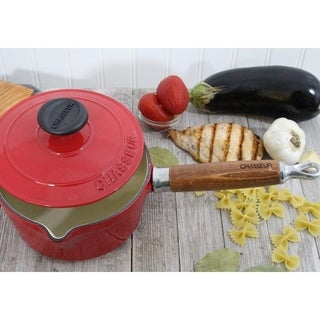 Chasseur 1.3-quart Red French Enameled Cast Iron Saucepan With Lid and Wood Handle
