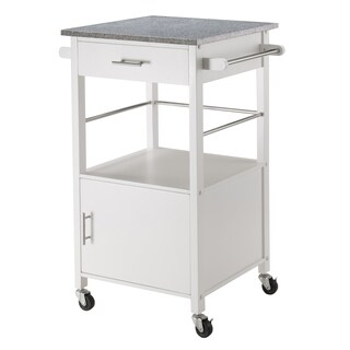 Davenport Off-white MDF and Metal Kitchen Cart with Granite Top