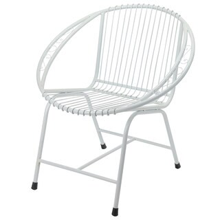 Veranda Metal Wire Chair, White Filigree (Bali)