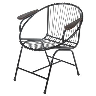 Truckee Metal Wire Chair, Black with Arms (Bali)