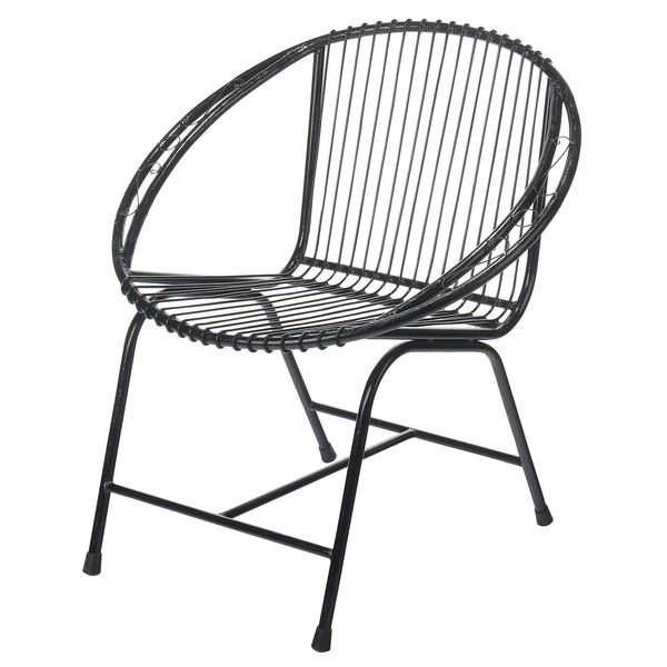 Lovely Terrace Metal Wire Chair, Black Filigree