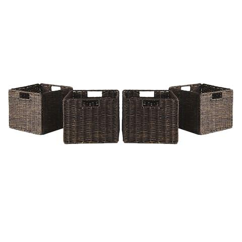 Granville Foldable 4-pc Small Corn Husk Baskets, Chocolate