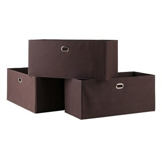 Torino 3-Pc Set Folding Fabric Baskets Chocolate