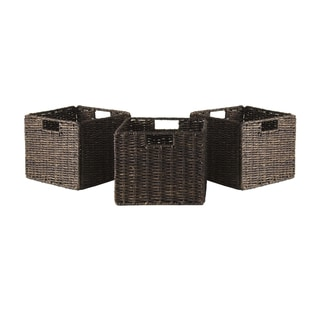 Granville Foldable 3-pc Small Corn Husk Baskets, Chocolate