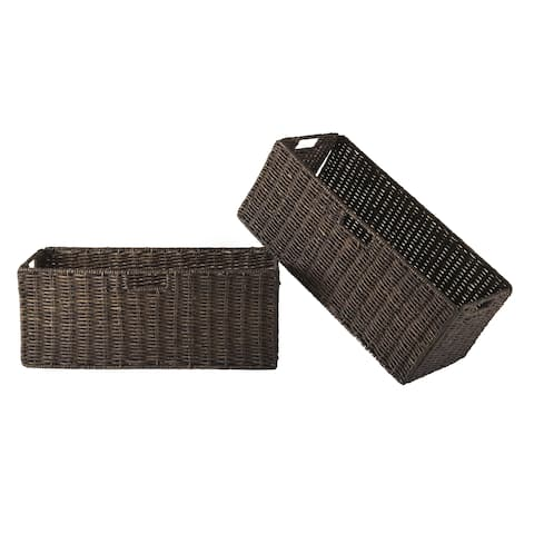 Granville Foldable 2-pc Large Corn Husk Baskets, Chocolate