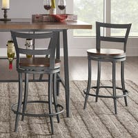 Thompson Counter Height Swivel Stools (Set of 2) by TRIBECCA HOME (As Is Item)