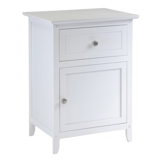 Eugene Night Stand / Accent Table with Drawer & Cabinet White
