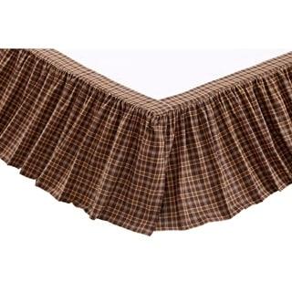 Brown Rustic Bedding VHC Prescott Bed Skirt Cotton Plaid Gathered